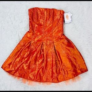 Size 8, Jessica McClintock Orange Cocktail Dress